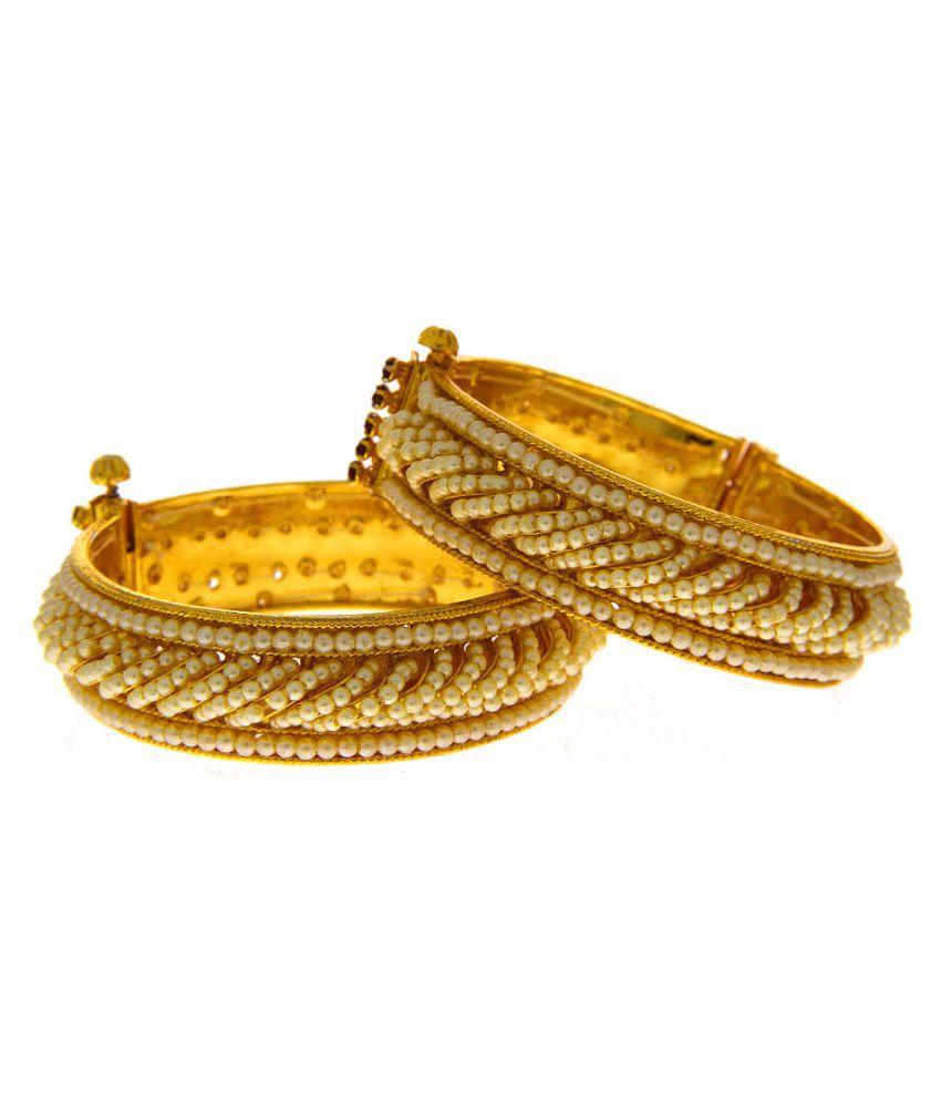 Anuradha Art Golden Finish Styled With Studded Beads Bangles Set/Kada For Women/Girls