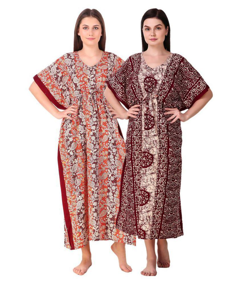 1a0096b566 Buy Masha Cotton Nighty & Night Gowns - Multi Color Online at Best Prices  in India - Snapdeal