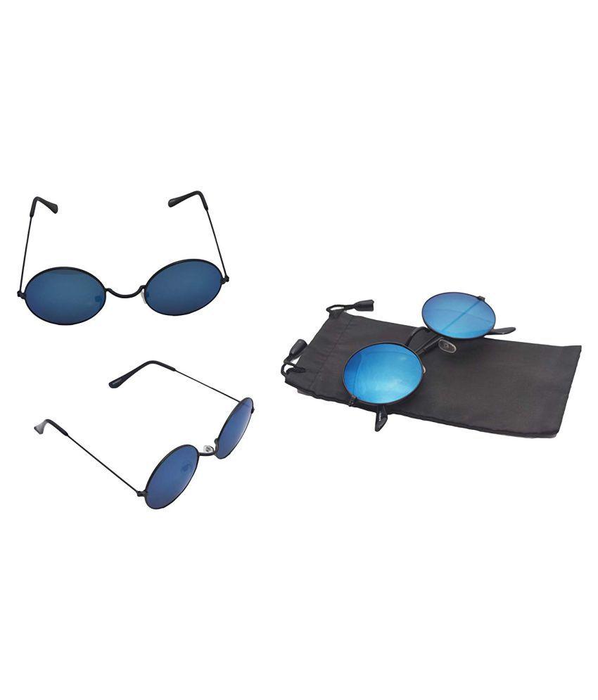 1756526f5aaf AAO+ Blue Round Sunglasses ( sun8009-1 ) - Buy AAO+ Blue Round ...