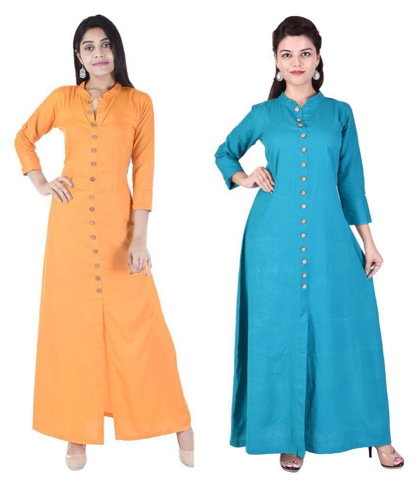 Desier Multicoloured Cotton Silk Anarkali Kurti