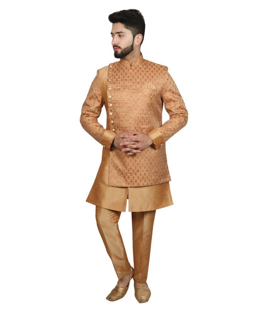 SG RAJASAHAB Orange Silk Blend Sherwani