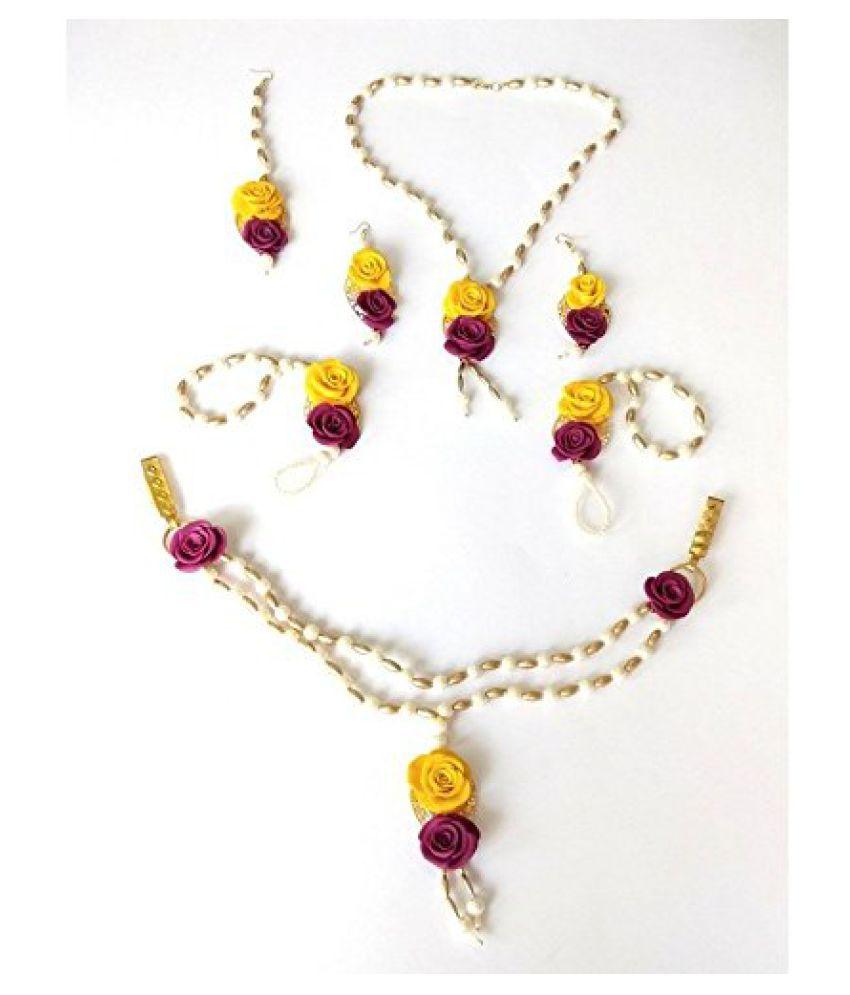 unique indian craft Handmade procelian work  Full Jewelry Set Necklace/ Earrings/ Mangtika/tagdi / hathphool (2 nos) for women /girls