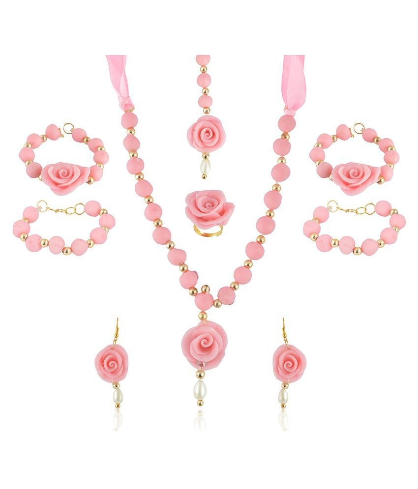 unique indian craft Handmade procelian work  Full Jewelry Set Necklace/ Earrings/ Mangtika/ hathphool (2 nos) for women /girls
