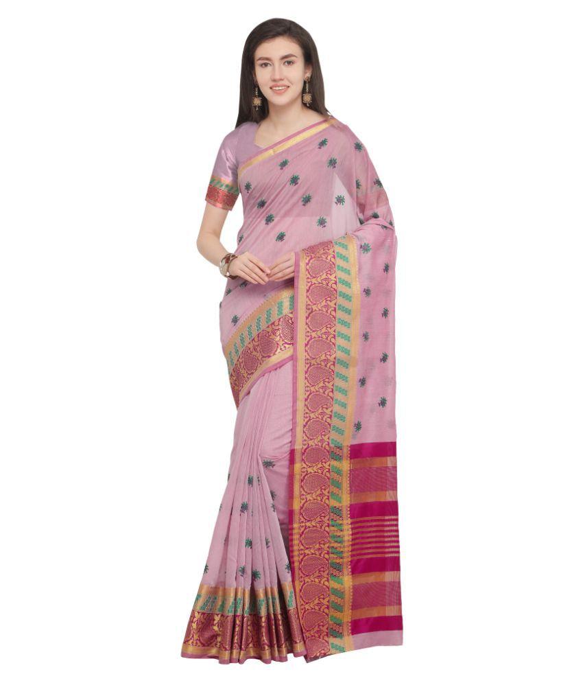 Aagaman Pink Cotton Saree