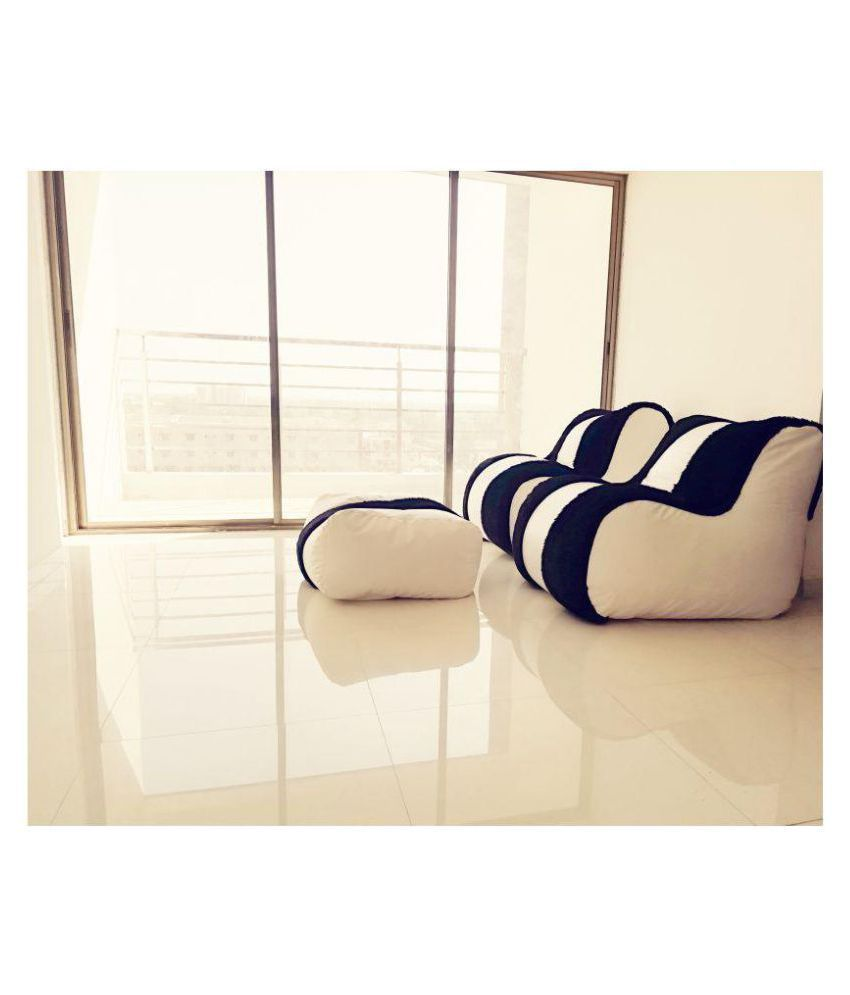 Lounger Bean Bag Sofa Bean Bag White and Black Leather Bean Bag Very  Adorable Bean Bag Two Chair with footrest Bean Bag Chair(2 Chair + 1 ...