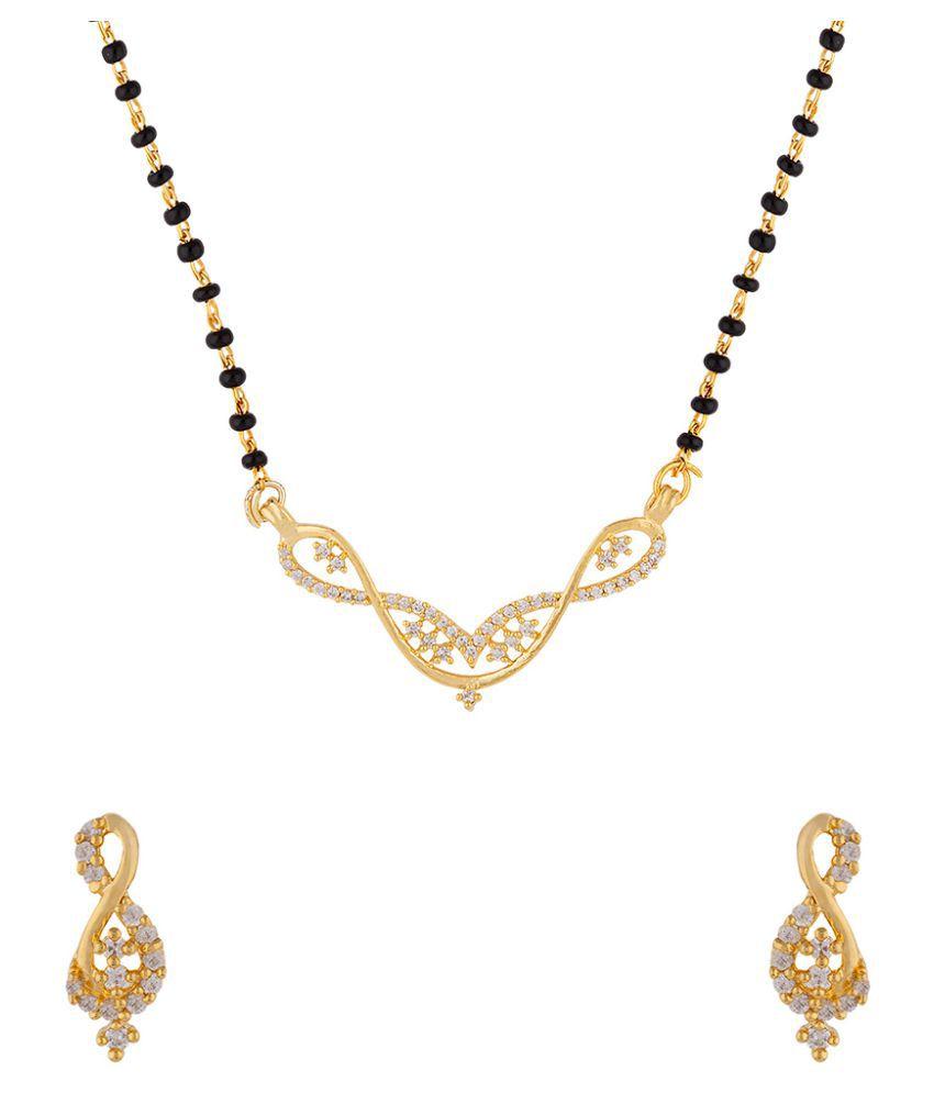 Voylla Twists Pattern Gold Plated Mangalsutra