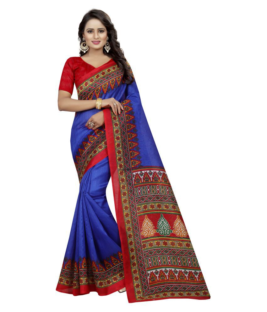 Fab Fort Blue Bhagalpuri Silk Saree