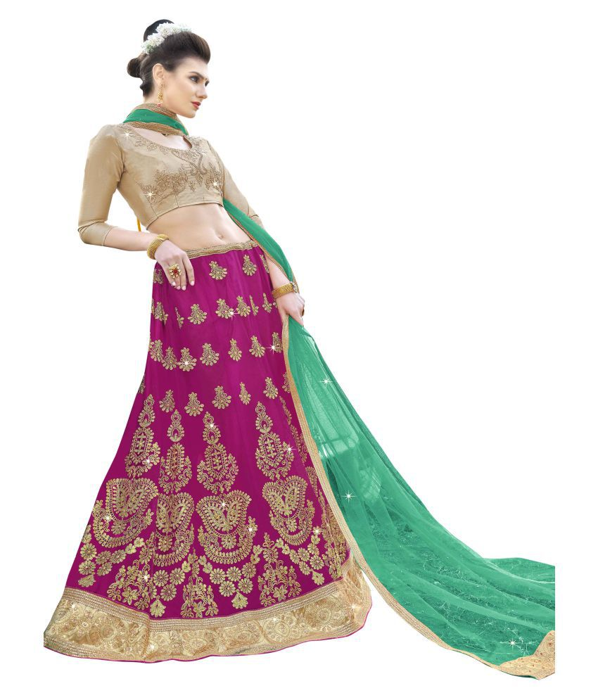 aec9f6fe68 Manvaa Pink Net A-line Semi Stitched Lehenga - Buy Manvaa Pink Net A-line  Semi Stitched Lehenga Online at Best Prices in India on Snapdeal