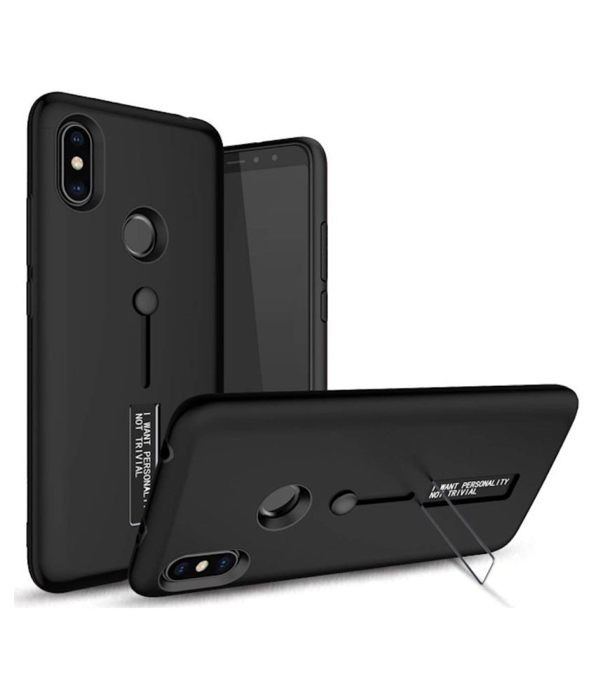 Xiaomi Redmi Note 5 Pro Cases with Stands CrackerDeal - Black Personality Cover Ruber and Hard TPU+PC
