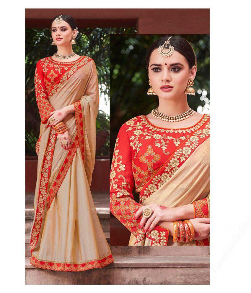 Lajree Designer Beige Silk Saree