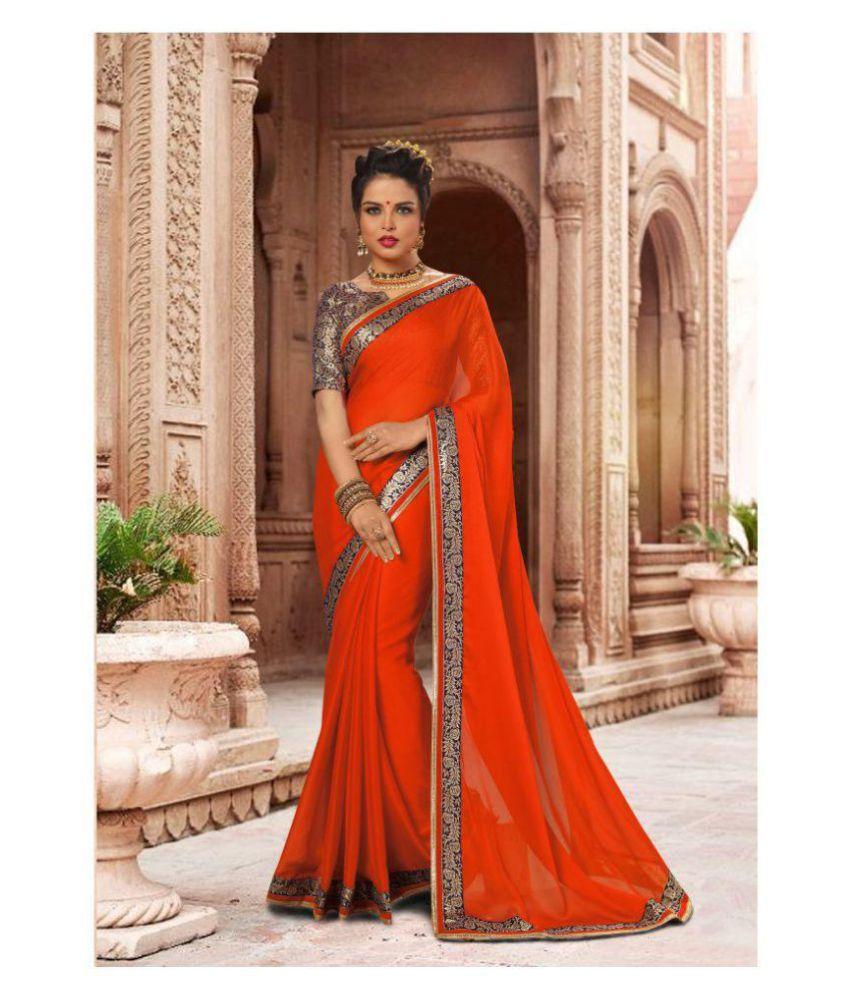 Pragati Fashion Hub Orange Chiffon Saree