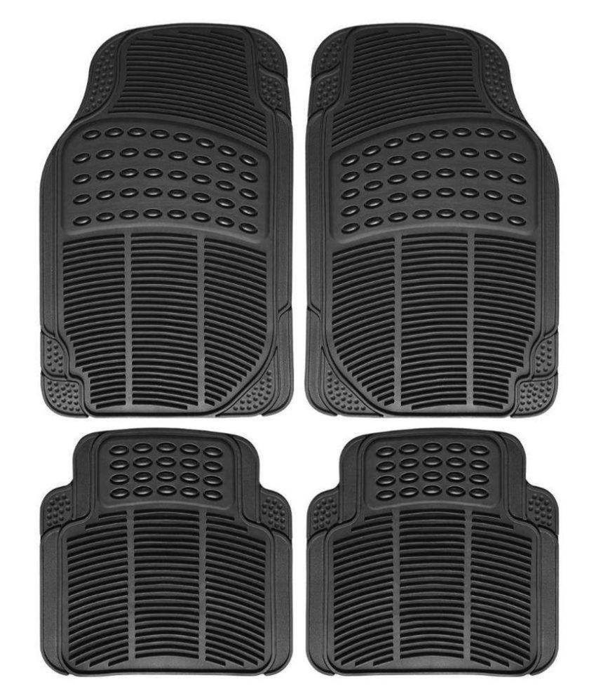 Ek Retail Shop Car Floor Mats (Black) Set of 4 for SkodaRapid1.5TDIATAmbition