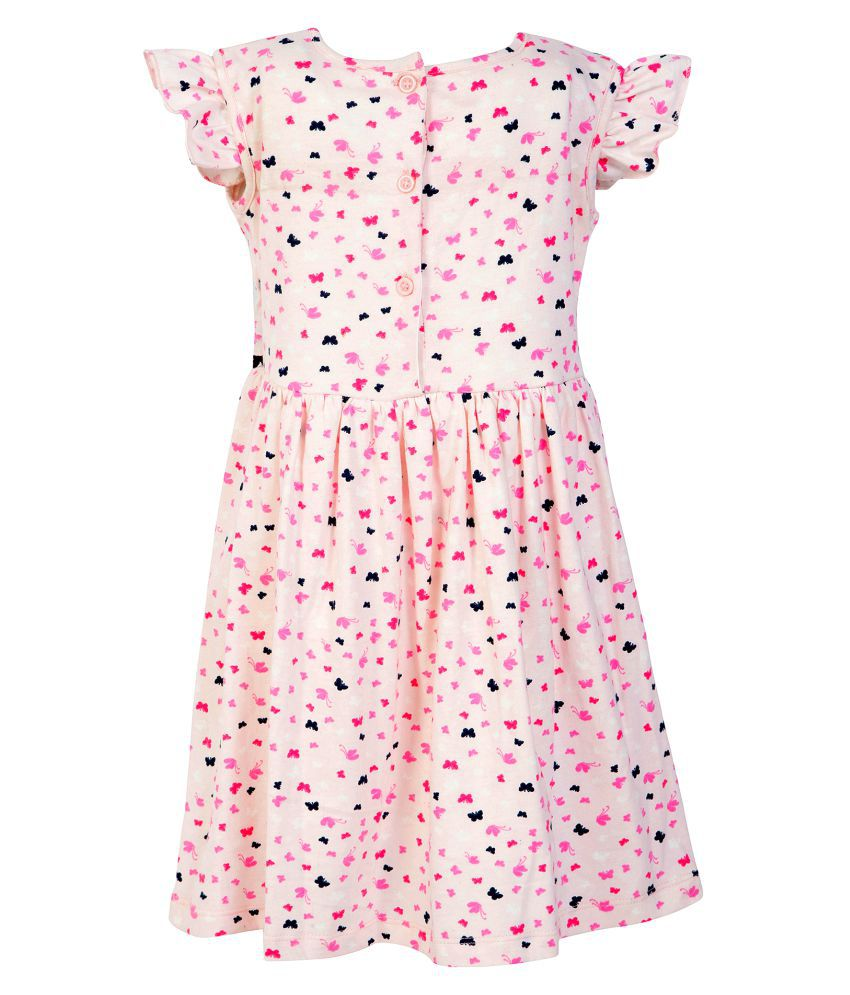 Stylo Bug Kids Dress, Cap Sleeve Printed Round Neck Dress For Girls, Pink