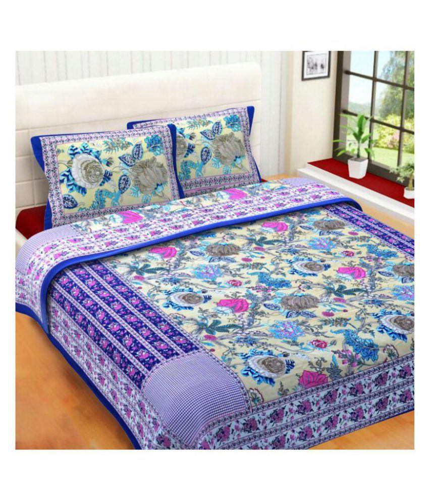 mayan bedsheet Cotton Double Bedsheet with 2 Pillow Covers
