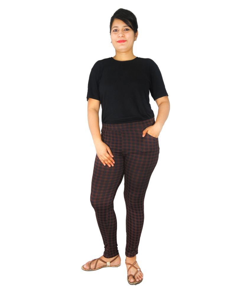 Wolfberry Cotton Lycra Jeggings - Brown