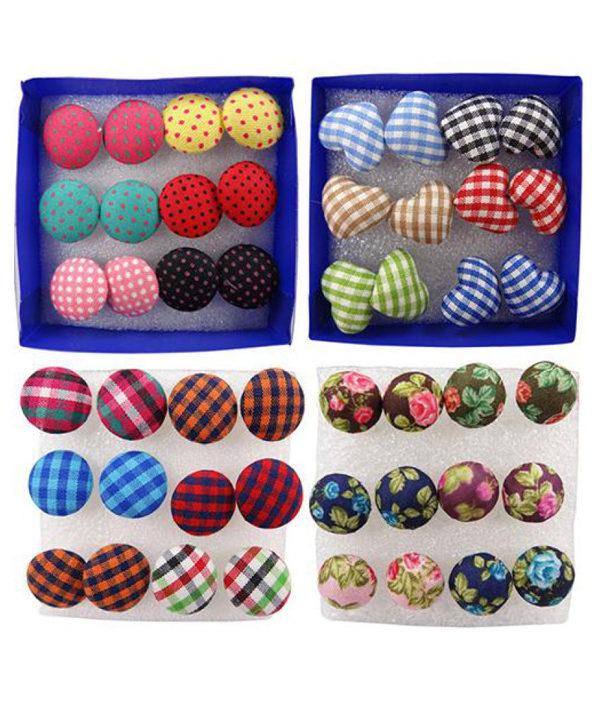 6 Pairs Vintage Colorful Cloth Button Plastic Pin Ear Studs Earrings Jewelry Fashion Jewellery