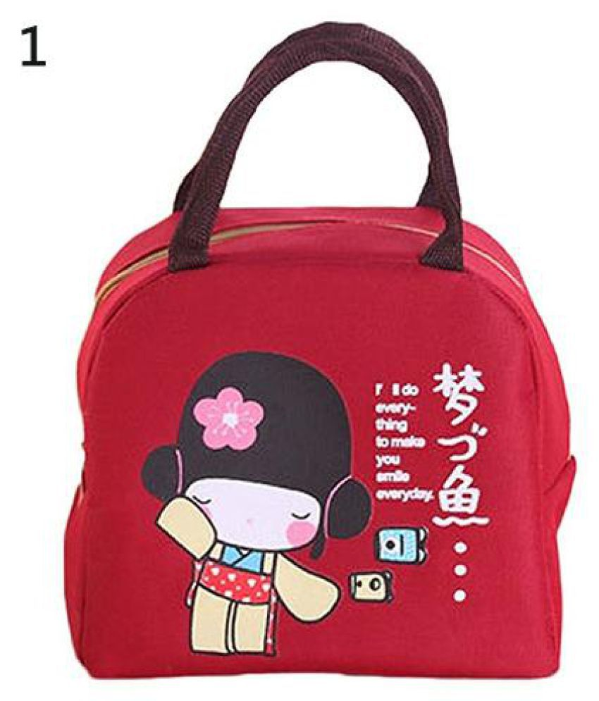 Cute Cartoon Japanese Girl Waterproof Thermal Insulated Picnic Lunch Box Pouch
