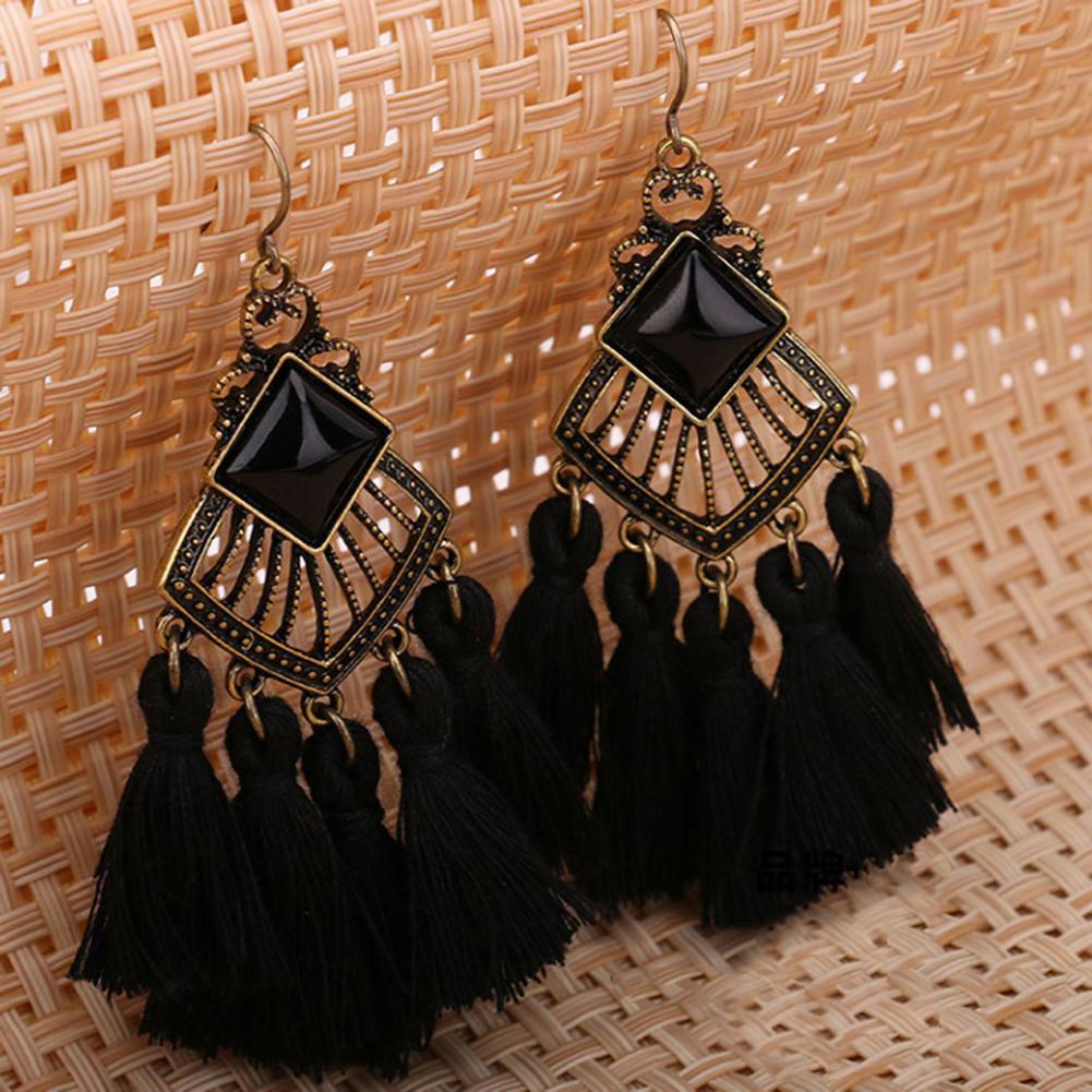 Vintage Women Ear Hook Rhombic Resin Tassel Dangle Statement Earrings Jewelry Fashion Jewellery