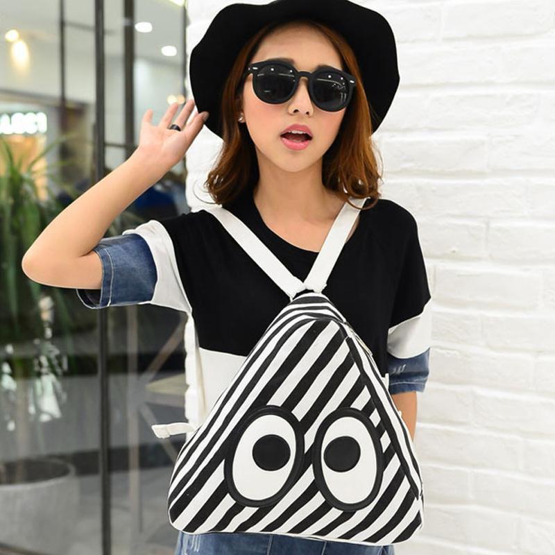 Women Canvas Big Eyes Triangle Cute Backpack School Travel Shoulder Bag Satchel