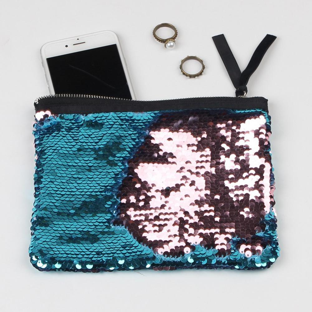 Women Fashion Sequins Glitter Makeup Storage Handbag Evening Party Zipper Bag