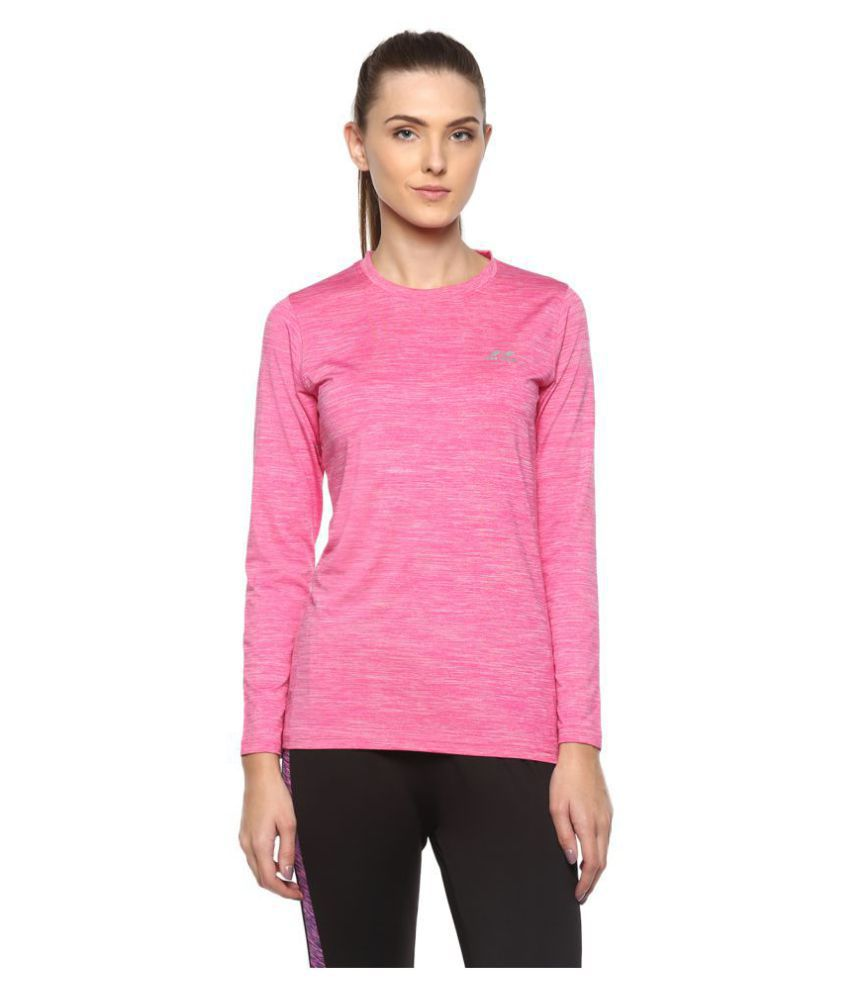 Nivia Self Design Women Round Neck Pink T-Shirt