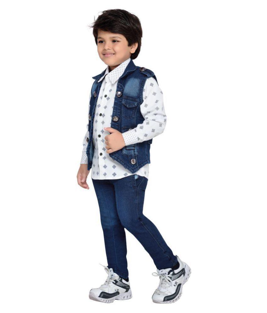e4ba2f127 ... AJ Dezines Kids Party Wear Shirt Jeans and Jacket Clothing Set for Boys  ...
