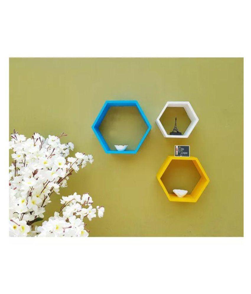 Onlineshoppee Floating Shelves Multicolour MDF - Pack of 3