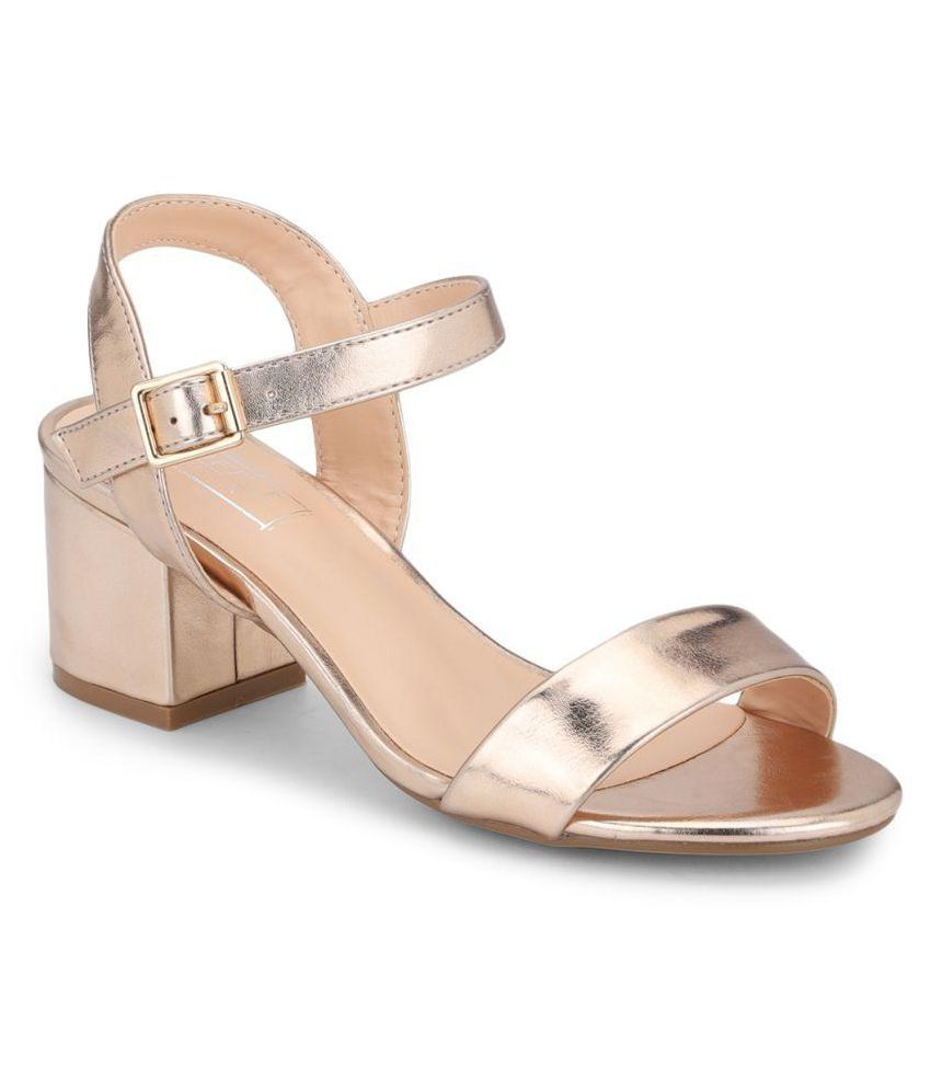 Truffle Collection Gold Block Heels