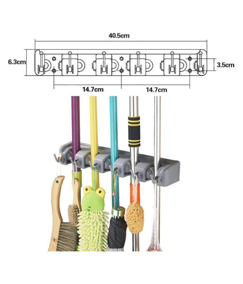swabs mop holder and broom holder 5 slot position with 6 hooks rh snapdeal com