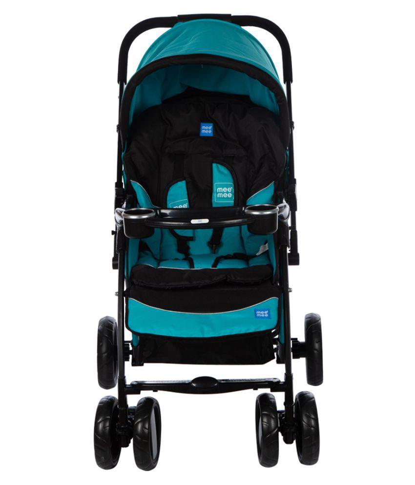 Mee Mee Advanced Baby Pram with Shock Absorber Wheels (Light Blue)