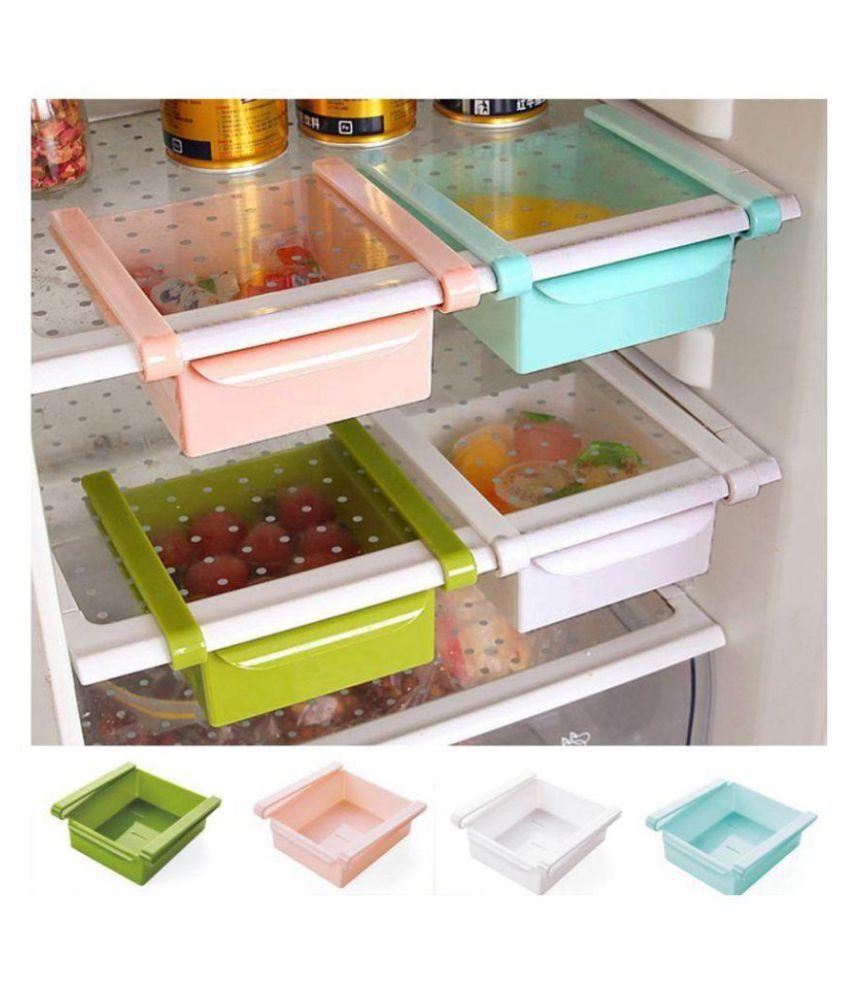 Fridge Storage Sliding Drawer Freezer Storage Shelf Multipurpose Refrigerator Organizer Space Saver(Assorted Colour, PACK OF 4)