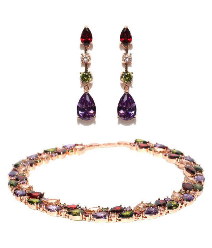 Jewels Galaxy Alloy Multi Color Contemporary Contemporary/Fashion Rose Gold Plated Necklaces Set