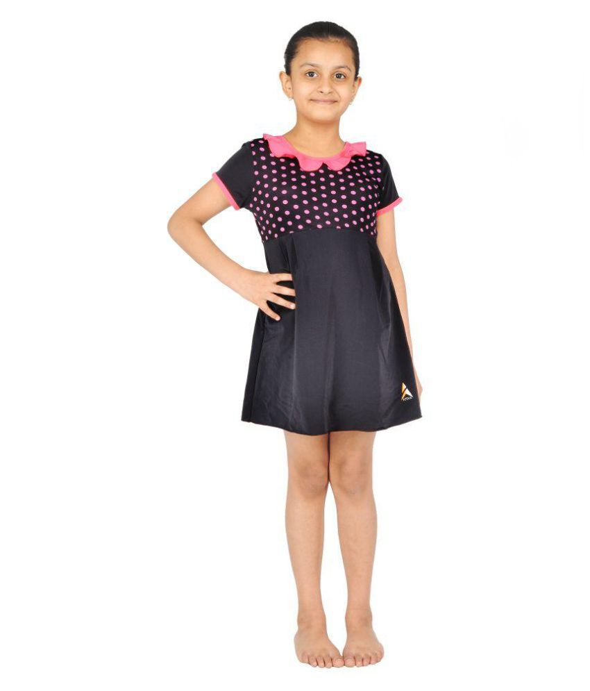Girls Printed Frock Swimwear With Short Sleeves