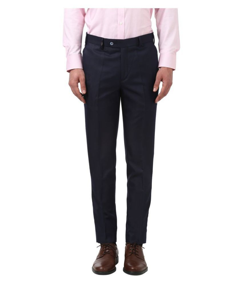 Park Avenue Dark Blue Regular -Fit Flat Trousers