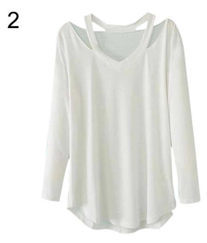 1da7190ec13d9f Buy Women s V-neck Plus Size Tops Loose Long Sleeve T-Shirt Casual Blouse  Dress Tee Online at Best Prices in India - Snapdeal