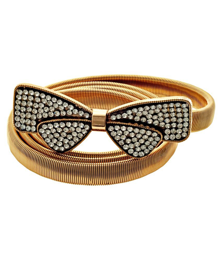 d968bc18f61d4 ... Lucky Jewellery Designer Gold Plated Kamarband White Rhinestone Waist  Belt Udyanam Kamar Patta For Girls And ...