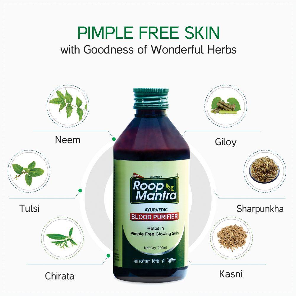 Roop Mantra Ayurvedic Blood Purifier Syrup 200ml, Pack of 3 (Helps in  Pimple Free Glowing Skin)