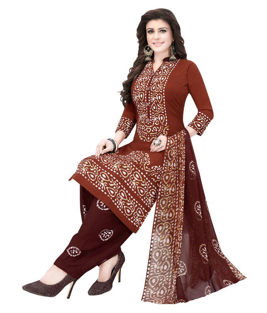 Ishin Brown Crepe Dress Material