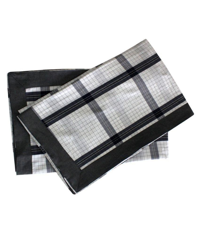 Elan Dreams Single Cotton Black Checks Dohar Set of 2