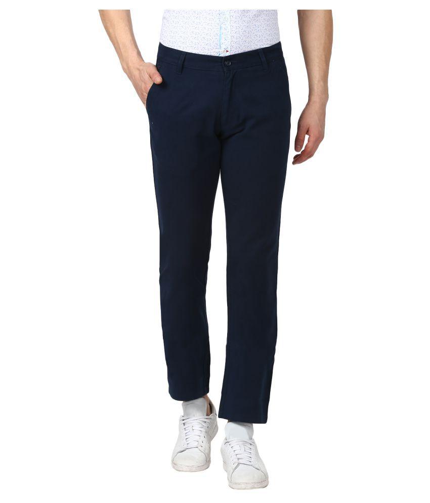 Monte Carlo Navy Blue Slim -Fit Flat Trousers
