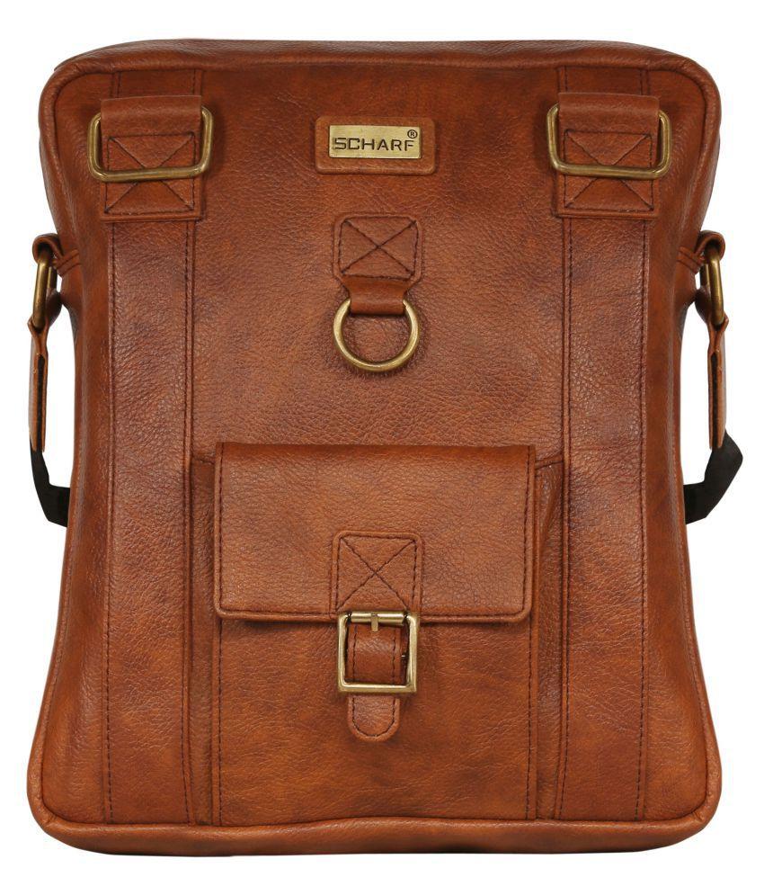 Scharf Lucas-Busi-Mess Essentials Tan P.U. Casual Messenger Bag
