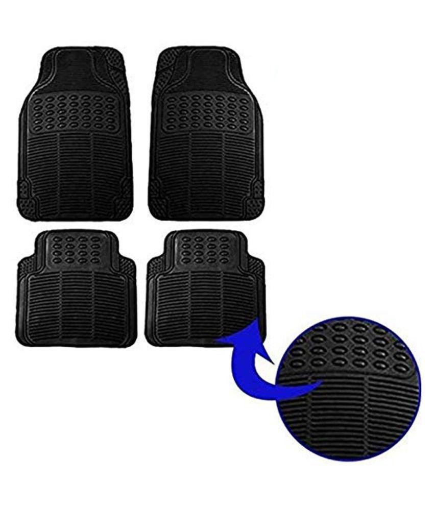 Ek Retail Shop Car Floor Mats (Black) Set of 4 for TataNanoCNGXM