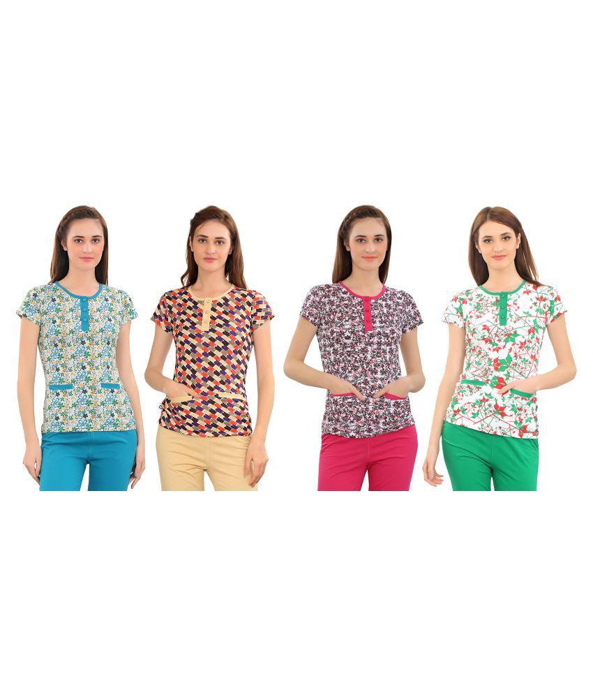 Zebu Cotton Multi Color T-Shirts
