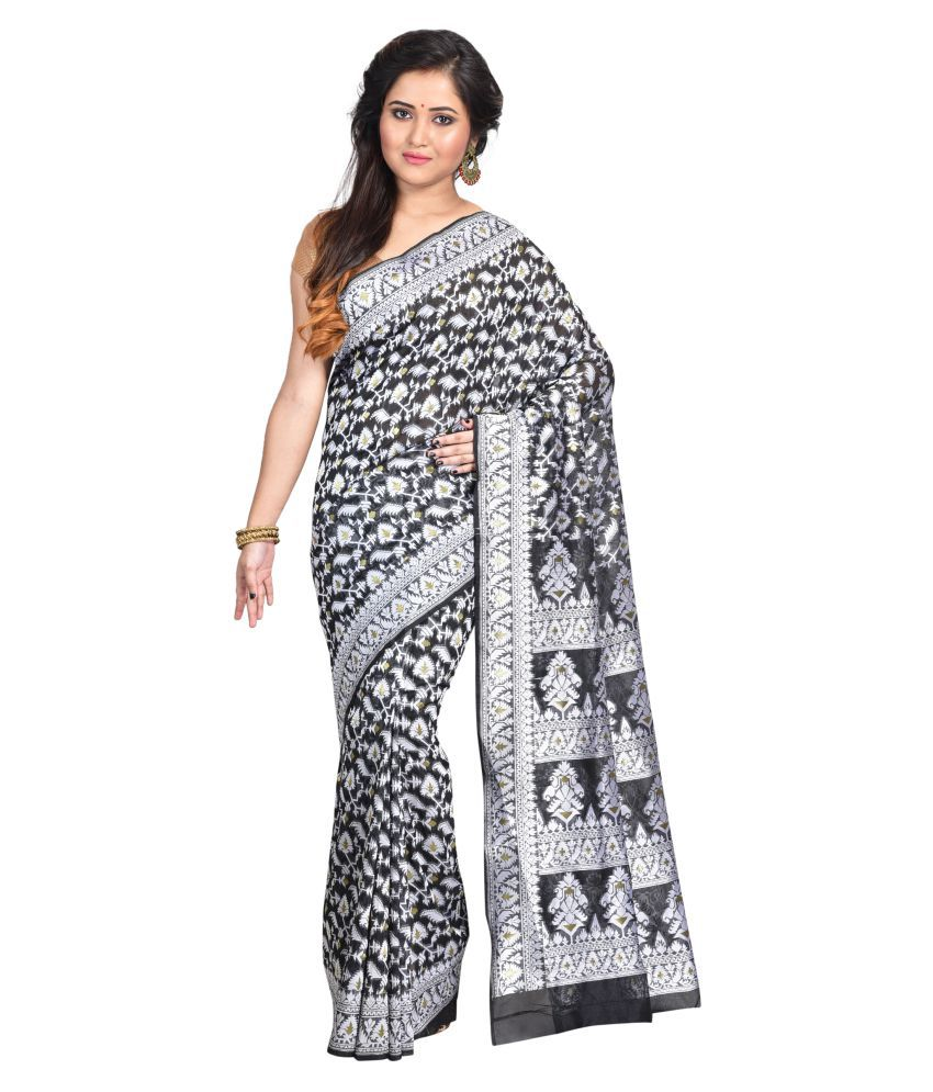 Lampro fashion Black Art Silk Saree