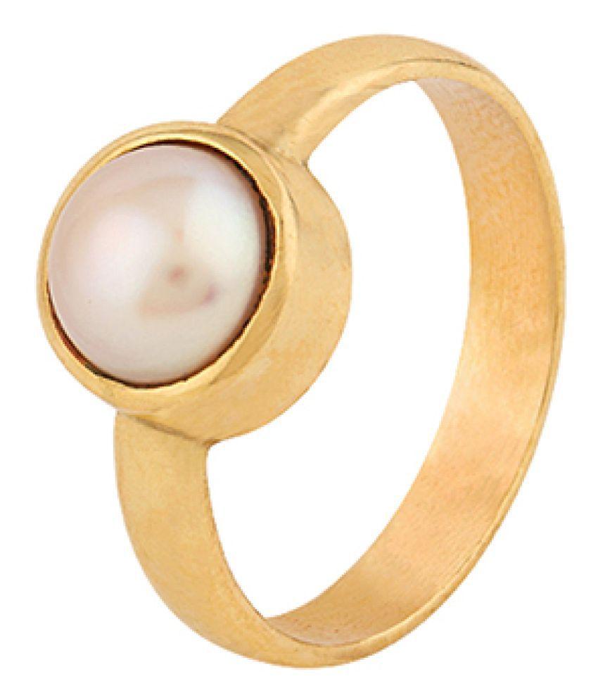 Dare by Voylla Pearl (Moti) 5.25 Ratti Ashtadhatu Rashi Ratna Ring with original Lab Test Certificate