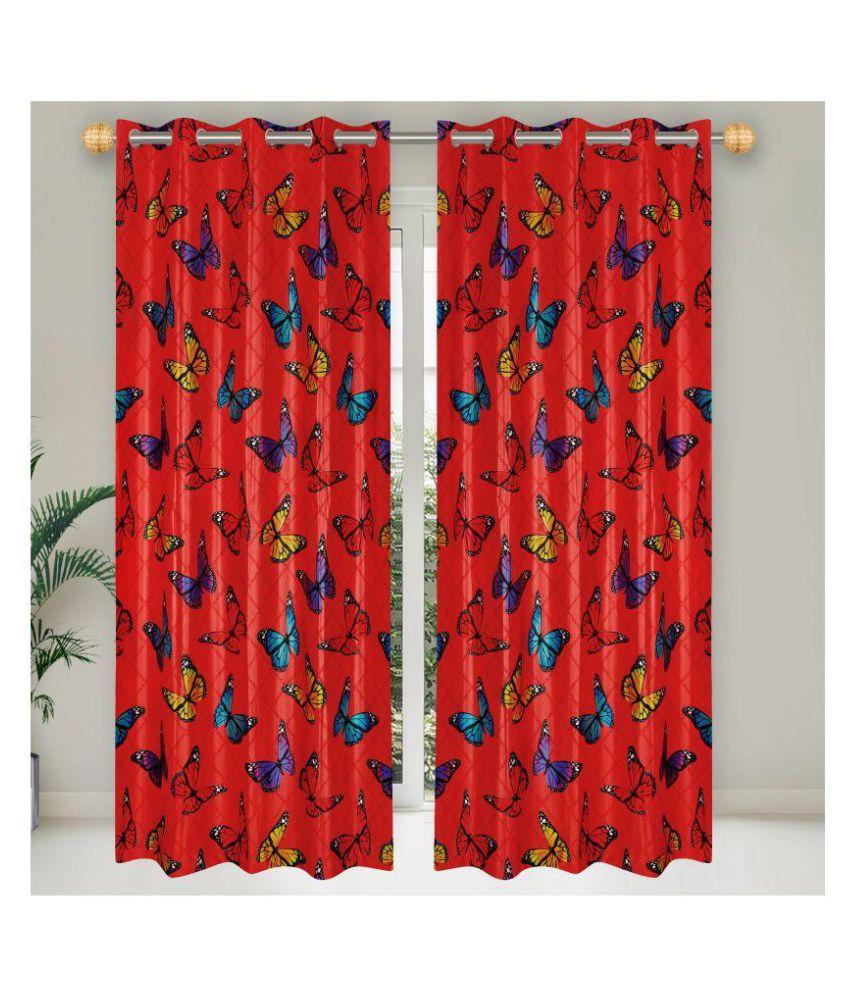 E-Retailer Single Door Semi-Transparent Eyelet Polyester Curtains Red