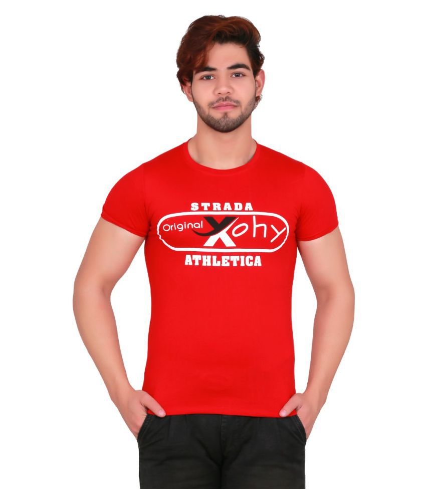 xohy Red Half Sleeve T-Shirt Pack of 1