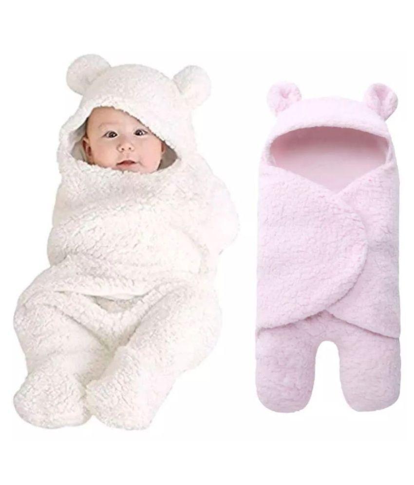 Brandonn Multi-Colour Flannel New born Baby AC Blanket ( 75 cm - 75 cm- 2 pcs)