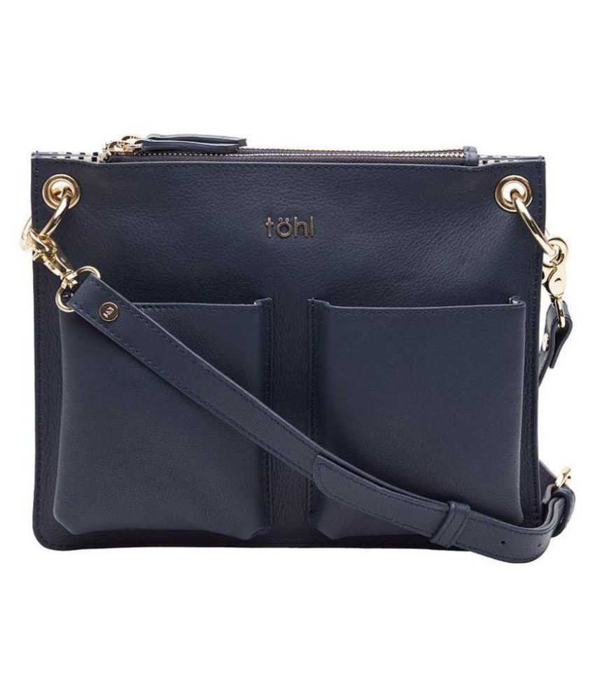 tohl Blue Pure Leather Sling Bag