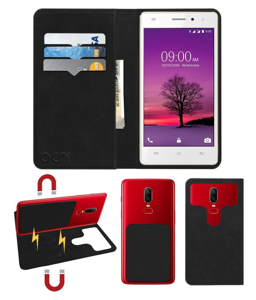 Lava A72 Flip Cover by ACM - Black 2 in 1 Detachable Case,Attachable Flip With Magnet